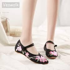 Veowalk Vegan Women Canvas <b>Flowers</b> Embroidered Ballet Flats ...