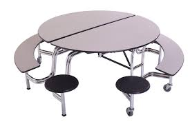 Round school lunch table Fifty Fifty Msbr6042mobileroundbenchstooltable Worthington Direct Amtab Mobile Round Stool Bench Table Msbr6042 Cafeteria Tables
