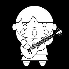 塗り絵に最適な白黒でかわいいギターを弾く女の子の無料イラスト商用