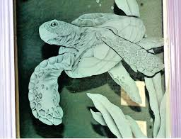 etched glass sea turtle