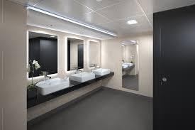 office bathroom decor. Office Bathroom Design Stall Interior Shelves Mirrors Bathrooms Decor Commercial Ideas Restroom