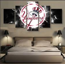 new york yankees on yankees canvas wall art with 5 panel new york yankees baseball sports canvas art