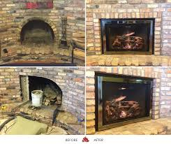 the fireplace is equipped w a small grace surround swedish nickel grace front and a black porcelain interior with a norway spruce log set