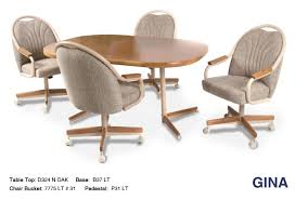 gorgeous dinette sets with rolling chairs 5 special kitchen table easy and casters wood leather cross furniture brown metal dining