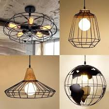 vintage light cage pendant industrial black metal ceiling lamp shade vintage cage