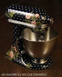 Designer Kitchen Aid Mixers Navy Polkadot Floral And Berries Custom Painted Kitchenaid Mixer