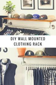 diy wall mounted clothing rack with top shelf keeklamp diy clothingrack pipefurniture