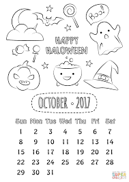 Small Picture October 2017 Calendar coloring page Free Printable Coloring Pages