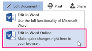 basic tasks in word online word image of edit in word online command