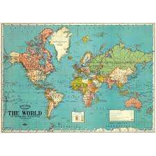 High Quality World Map Cavallini World Map Wrapping Paper Poster High Quality Decoupage