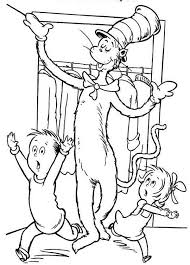 Small Picture Sally and Her Brother Running Scared to See Dr Seuss the Cat in