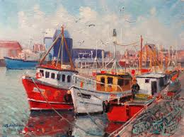howth trawlers and lobster pots painting 12x16 in 2016 by bill o