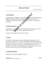 Waiver And Release Form Template
