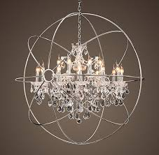 fabulous orb chandelier with crystals foucaults orb crystal chandelier polished nickel large