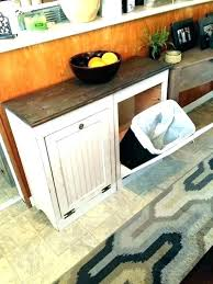 Wooden Garbage Bin Kitchen Trash Containers Hidden Can Cabinet Or Plans Wood  With Lid