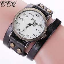 ccq brand fashion vintage creative leather math formula equation watch casual women bracelet quartz watch relogio