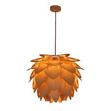 Pineapple Leaf 1 Light White Pendant Light Society Petals Natural Wood Large Pendant Lamp