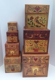 Vintage Primitive American Heart Set of Seven Decorative Stacking Boxes  from Bob's Boxes featuring the Folk Art Work of Ellen Stouffer