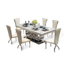 Leather Chair Designer Us 2173 6 5 Off Designer Unique New Stainless Steel Golden Dining Room Set With Marble Table And 6 Leather Chairs Mesa De Jantar Muebles Comedor In