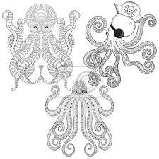 Fototapeta Tetování Octopus Set Ruční Tažené Zentangle Kmenové Chobotnice