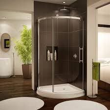 modern shower design example curved frameless shower enclosure