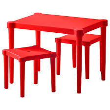 Love this red children's table with 2 stools from IKEA. Perfect to tuck  under his