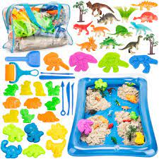 Amazon.com: Play Sand Kit for Kids - 3lbs All-Natural Sensory Sand,  Dinosaur Sand Molds Tools, Dinosaur Figure Toys, Inflatable Tray and  Storage Bag, 44PCS Sandbox Toys Set for Toddlers Ages 3 4