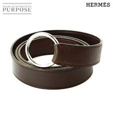 hermes hermes leather belt hoop metal fittings brown tea silver sv metal fittings accessories 115cm e carved seal used accessory