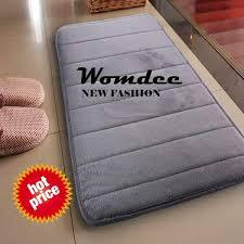 womdee water absorbent non skid memory foam bath spa rug shower mat carpet gray