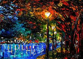 cityscape landscape urban lights night oil painting by debra hurd by debra hurd