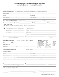 Used Car Sale Agreement Template Auto Purchase Contract Form Vehicle Agreement Car Sell