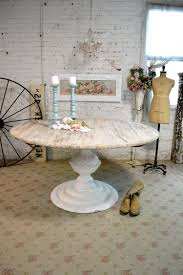 white round pedestal dining table. Interactive Dining Room Decoration With Round Distressed Wood Table : Casual French White Pedestal
