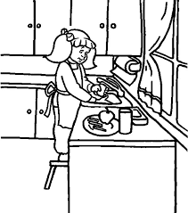 Small Picture Washing Dish in the Kitchen Coloring Pages Download Print
