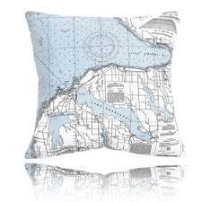 Nautical Chart Pillows Little Traverse Bay Outdoor Pillow