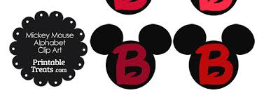 free red mickey mouse head letter b clipart 610x229