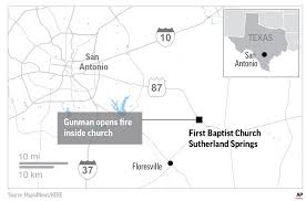prayer and a packing pastor a church s response to mass shooting map locates church shooting in sutherland springs texas 2c x 3 inches 96 3 mm x 76 mm