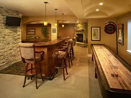 decoration: Yellow Accents Wall Painted Of Enchanting Home Basement Bar  Ideas With Pleasant Long Bar