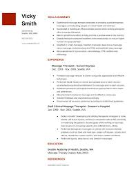 Resume And Cover Letter Massage Therapist Resume Samples Sample