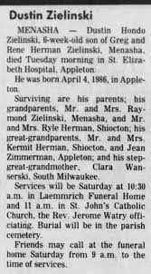 Obituary: Dustin Zielinski, six weeks old. - Newspapers.com