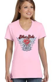 Light Pink T Shirt Design Details About Womens Light Pink Biker Babe Heart W Wings Chain Design On V Neck Tee Shirt