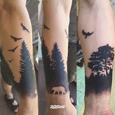 тату лес на руке фото