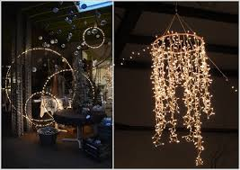 make a lamp or a chandelier with hula hoops and string lights