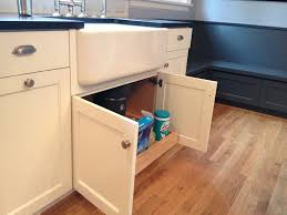 Under Kitchen Sink Storage Custom White Cabinets With Farmhouse Sink Pull Out Under Kitchen