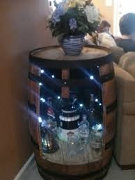 whiskey barrel end table led lights added and put whatever you want in it authentic jim beam whiskey barrel table