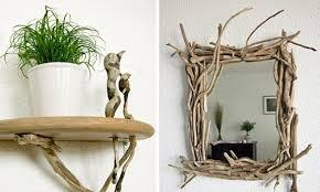 DIY driftwood decor ideas -wall-shelf-mirror-frame