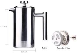 steel cafetiere french press with filter double wall espresso coffee maker
