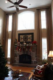Great Room Two Story Great Room Window Treatments Curtains For Two Story