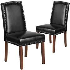 details about accent parsons chair set of 2 black faux leather silver nail trim solid frame