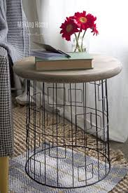 basket side table diy accent table from a wire laundry basket