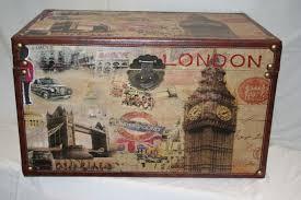 Decorative London Scene Wooden Storage Trunks 4 Sizes available